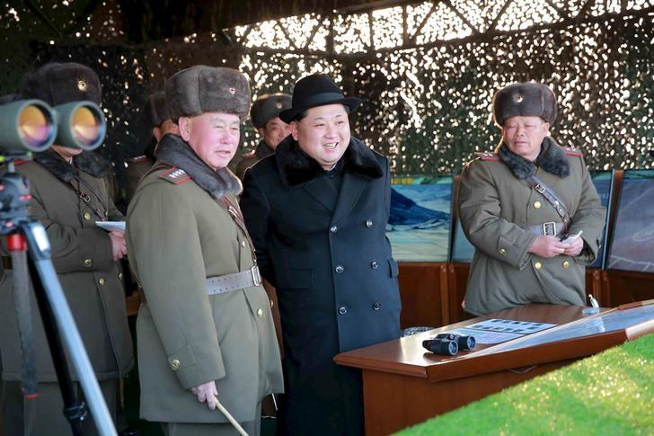 North Korean leader Kim Jong Un guides Korean People's Army (KPA) military drills, in this undated photo released by North Korea's Korean Central News Agency (KCNA) in Pyongyang on February 21, 2016. REUTERS/KCNA