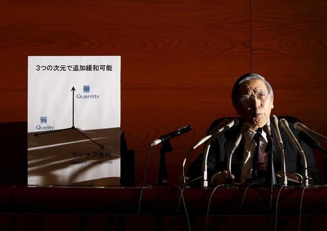 2月25日、財務省と内閣府は、1月29日金融政策決定会合におけるマイナス金利導入の内容が公表直前に一部で報道されたことを受け、報道関係者向け情報管理強化策を決めた。写真はマイナス金利決定後同日、記者会見に応じる黒田総裁(2016年 ロイター/Yuya Shino)