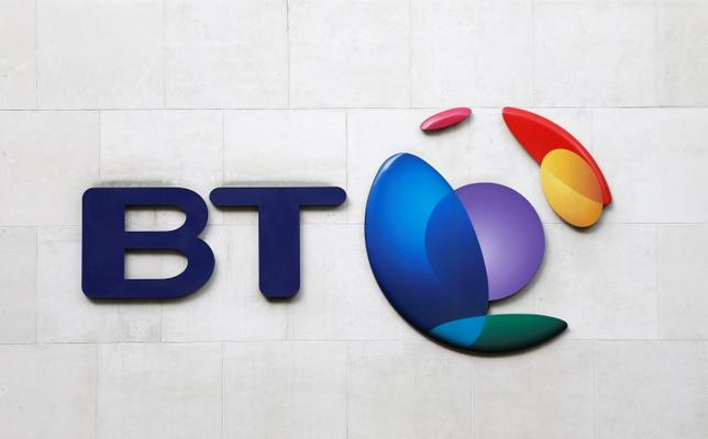 A BT logo is seen on a building in London, February 5, 2015. REUTERS/Suzanne Plunkett