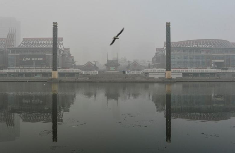 A bird flies past buildings reflected on a river amid heavy smog after the city issued its first red alert for air pollution, in Tianjin, China, December 23, 2015. REUTERS/Stringer