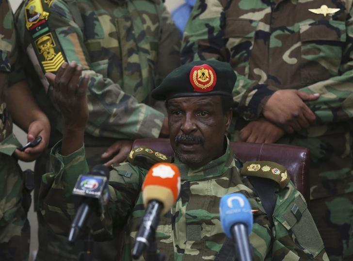 Libyan Army Special Forces Commander Wanis Bukhamada delivers a statement in Benghazi May 19, 2014. REUTERS/Esam Omran Al-Fetori