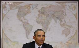 Президент США Барак Обама на заседании Совета национальной безопасности США в Вашингтоне 25 февраля 2016 года. Президент США Барак Обама пообещал, что США сделают всё возможное для установления режима прекращения огня в Сирии, несмотря на многочисленные сомнения в успехе соглашения. REUTERS/Carlos Barria