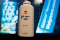 A bottle of Johnson and Johnson Baby Powder is seen in a photo illustration taken in New York, February 24, 2016. REUTERS/Shannon Stapleton/Illustration