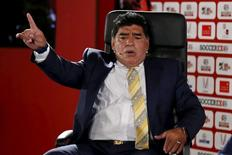 Argentina's former soccer player Diego Maradona speaks in the Soccerex Asian Forum on developing the business of football in Asia at the King Hussein Convention Center at the Dead Sea, Jordan, May 4, 2015. REUTERS/Muhammad Hamed
