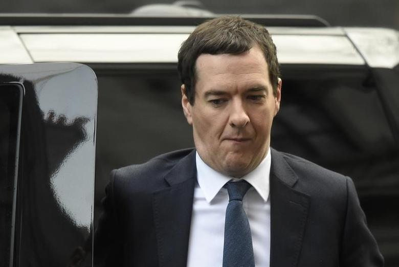Britain's Chancellor of the Exchequer George Osborne arrives for a Cabinet meeting in Downing Street in London, Britain February 20, 2016. REUTERS/Toby Melville