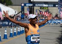 Feb 13, 2016; Los Angeles, CA, USA; Meb Keflezighi places second in 2:12:20 during the 2016 U.S. Olympic Trials marathon. Mandatory Credit: Kirby Lee-USA TODAY Sports