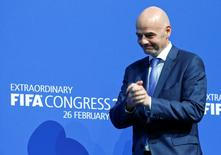 Newly elected FIFA President Gianni Infantino arrrives for a news conference during the Extraordinary FIFA Congress in Zurich, Switzerland February 26, 2016.  REUTERS/Ruben Sprich