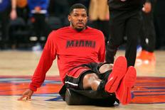 Miami Heat small forward Joe Johnson (2) warms up before a game against the New York Knicks at Madison Square Garden. Mandatory Credit: Brad Penner-USA TODAY Sports