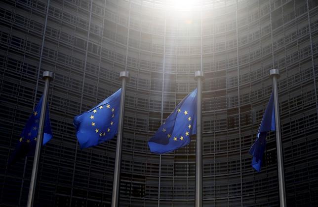 European Union flags flutter outside the European Commission headquarters in Brussels, Belgium, June 4, 2015. REUTERS/Francois Lenoir