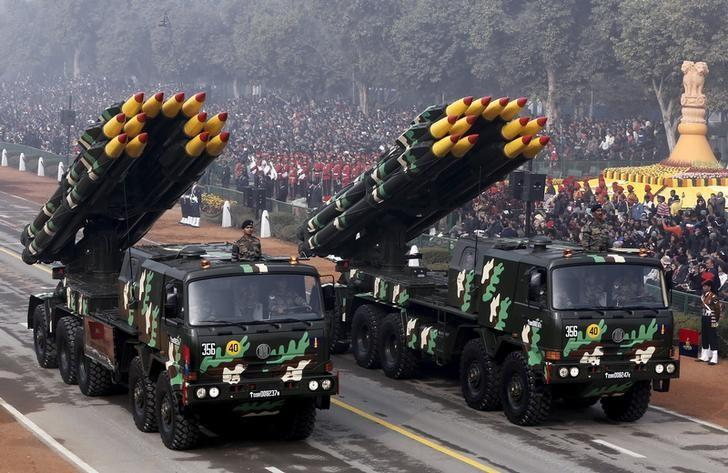 Indian army officers stand on vehicles displaying missiles during the Republic Day parade in New Delhi, India, January 26, 2016. REUTERS/Altaf Hussain/Files