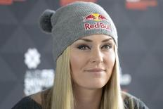 Alpine skier Lindsey Vonn of the U.S. speaks during a news conference at Hotel Park Inn in Stockholm, prior to the Women's World Cup Parallel Slalom in central Stockholm, Sweden, February 23, 2016. REUTERS/Maja Suslin/TT