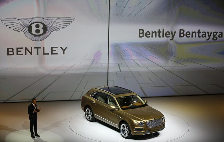 Bentley CEO Wolfgang Duerheimer presents Bentley Bentayga during the Volkswagen group night ahead of the Frankfurt Motor Show (IAA) in Frankfurt, Germany, September 14, 2015. REUTERS/Kai Pfaffenbach