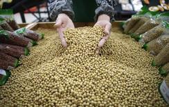 Un empleado recogiendo granos de soja defectuosos de una pila en un supermercado en Wuhan, China, abr 14, 2014. Las importaciones de soja de China subirían un 6 por ciento en el año a septiembre del 2016 ante una mayor demanda de alimento para animales, mientras que las compras de maíz caerían en momentos en que el país adopta medidas para reducir los inventarios locales, dijo un alto funcionario de la industria.    REUTERS/Stringer IMAGEN SOLO PARA USO EDITORIAL