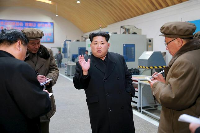 North Korean leader Kim Jong Un visits Taeseung machinery factory in this undated photo released by North Korea's Korean Central News Agency (KCNA) in Pyongyang on March 2, 2016. REUTERS/KCNA