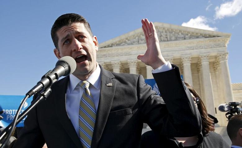 U.S. Speaker of the House Paul Ryan outside the U.S. Supreme Court, March 2, 2016.   REUTERS/Kevin Lamarque