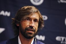Italian international soccer player Andrea Pirlo is introduced as New York City FC's third Designed Player, at an event in New York, July 23, 2015. REUTERS/Mike Segar