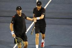 Aug 7, 2015; Washington, DC, USA; File photo of Mike Bryan with partner Bob Bryan at the 2015 Citi Open at Rock Creek Park Tennis Center. Mandatory Credit: Geoff Burke-USA TODAY Sports