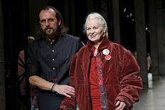 British designer Vivienne Westwood appears next to her husband Andreas Kronthaler at the end of their Fall/Winter 2016/2017 women's ready-to-wear collection show in Paris, France, March 5, 2016. REUTERS/Benoit Tessier