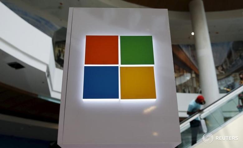 A Microsoft logo is seen at a pop-up site for the new Windows 10 operating system at Roosevelt Field in Garden City, New York July 29, 2015. REUTERS/Shannon Stapleton