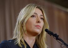 Maria Sharapova em declaração à imprensa em Los Angeles.  7/3/2016.  Reuters/Jayne Kamin-Oncea-USA TODAY Sports