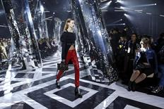 A model presents a creation by French designer Nicolas Ghesquiere as part of his Fall/Winter 2016/2017 women's ready-to-wear collection show for Louis Vuitton in Paris, France, March 9, 2016.  REUTERS/Benoit Tessier