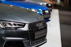 Audi cars during the company's annual news conference in the Bavarian city of Ingolstadt March 3, 2016.    REUTERS/Michael Dalder