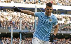 Sergio Aguero durante partida da Liga Inglesa.    Action Images via Reuters / Jason Cairnduff