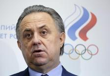 Russian Sports Minister Vitaly Mutko speaks to the media during a news conference following a meeting held to hear reports and elect new officials of Russia's Athletics Federation (ARAF) in Moscow, Russia, January 16, 2016. REUTERS/Maxim Shemetov