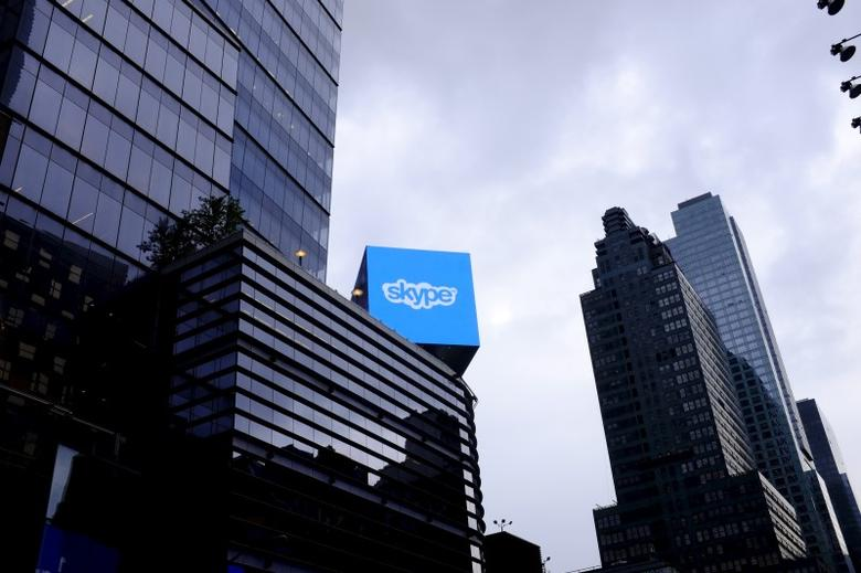 An advertisement for Skype is seen over 42nd Street in Manhattan, New York, July 14, 2015. REUTERS/Rickey Rogers