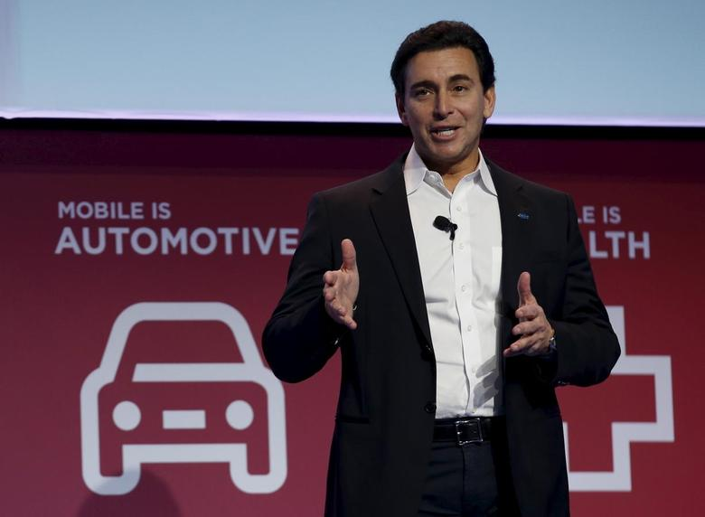 Mark Fields, President and CEO of Ford, delivers a keynote speech during the Mobile World Congress in Barcelona, Spain February 22, 2016. REUTERS/Albert Gea