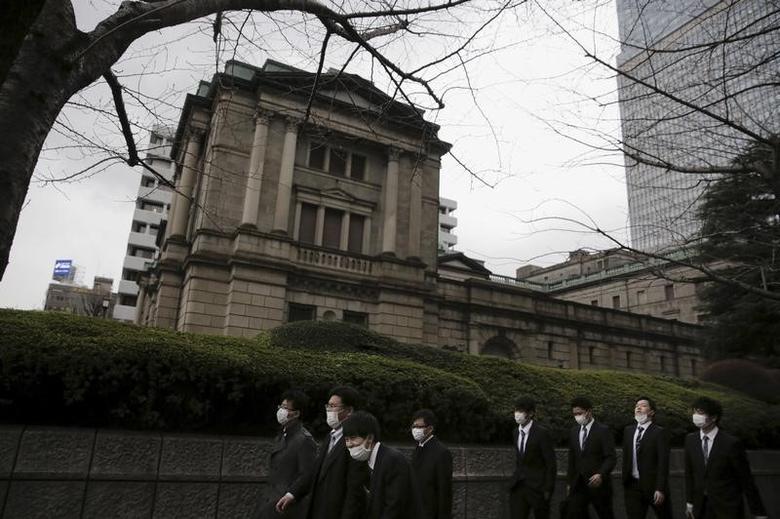 Businessmen walk past the Bank of Japan (BOJ) headquarters in Tokyo, Japan,  February 15, 2016. REUTERS/Thomas Peter