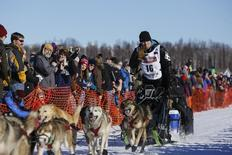 Dallas Seavey and team leave the start chute at the restart of the Iditarod Trail Sled Dog Race in Willow, Alaska March 6, 2016.  REUTERS/Nathaniel Wilder