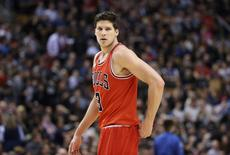 Chicago Bulls forward Doug McDermott (3) during the game against the Toronto Raptors at Air Canada Centre. The Bulls beat the Raptors 109-107. Mandatory Credit: Tom Szczerbowski-USA TODAY Sports