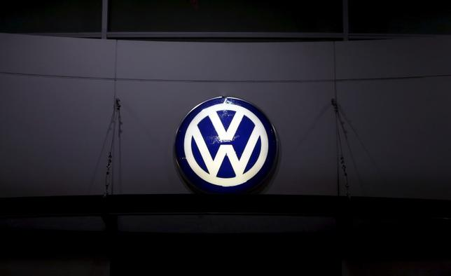 A logo of Volkswagen is illuminated at a dealership in Seoul, South Korea, November 25, 2015. Picture taken November 25, 2015.  REUTERS/Kim Hong-Ji