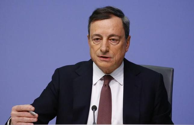 The European Central Bank (ECB) President Mario Draghi addresses a news conference at the ECB headquarters in Frankfurt, Germany, January 21, 2016. REUTERS/Kai Pfaffenbach