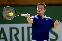 David Goffin (BEL) during his quarter final match against Marin Cilic (CRO) in the BNP Paribas Open at the Indian Wells Tennis Garden. Goffin won 7-6, 6-2. Mandatory Credit: Jayne Kamin-Oncea-USA TODAY Sports