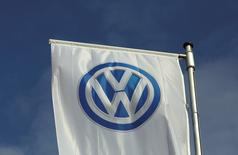 A flag of a Volkswagen VW car dealer is seen in Bochum, Germany March 16, 2016.  REUTERS/Ina Fassbender