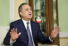 Ministro dos Esportes da Rússia, Vitaly Mutko, durante entrevista à Reuters em Moscou.    11/03/2016       REUTERS/Maxim Zmeyev