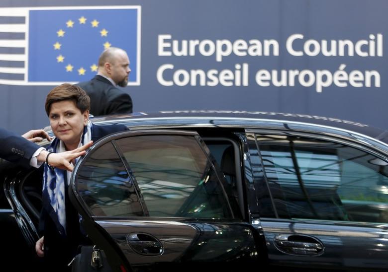 Poland's Prime Minister Beata Szydlo arrives at a European Union leaders summit over migration in Brussels, Belgium, March 17, 2016.  REUTERS/Francois Lenoir