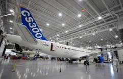 Bombardier's CS300 Aircraft sits in the hangar prior to its' test flight in Mirabel February 27, 2015. REUTERS/Christinne Muschi