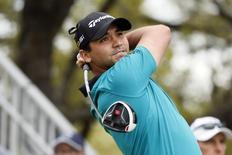 Mar 23, 2016; Austin, TX, USA; Jason Day hits his tee shot on the first hole during the first round of the Dell Match Play Championship golf tournament at Austin Country Club. Mandatory Credit: Soobum Im-USA TODAY Sports