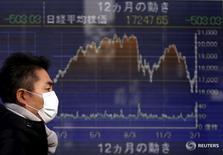 Пешеход проходит мимо экрана с котировками индекса Nikkei у биржи в Токио 3 февраля 2016 года. Японский индекс Nikkei снизился в четверг из-за падения акций сырьевых компаний. REUTERS/Yuya Shino