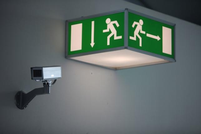 A monitoring camera observes Frankfurt Airport, March 3, 2011.  REUTERS/Ralph Orlowski