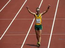 Jared Tallent of Australia reacts after finishing second in the men's 50km race walk final at the 15th IAAF Championships at the National Stadium in Beijing, China August 29, 2015. REUTERS/David Gray