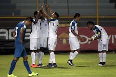 Football Soccer - El Salvador v Honduras - World Cup 2018 Qualifier - Cuscatlan Stadium, San Salvador, El Salvador - 25/3/16. Honduras players celebrate scoring against El Salvador. REUTERS/Jose Cabezas