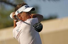 Golf - Abu Dhabi HSBC Golf Championship - Abu Dhabi Golf Club, United Arab Emirates - 24/1/16 England's Ian Poulter tees off at the 18th hole during the third round Action Images via Reuters / Paul Childs Livepic
