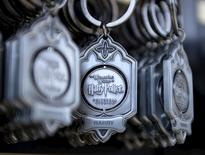 "Key rings are on display for purchase outside Hogwarts School during a soft opening and media tour of ""The Wizarding World of Harry Potter"" theme park at the Universal Studios Hollywood in Los Angeles, California in this picture taken March 22, 2016.  REUTERS/Kevork Djansezian"
