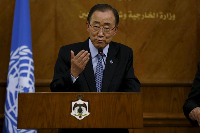 United Nations (U.N.) Secretary-General Ban Ki-moon speaks during a news conference at the Foreign Ministry in Amman March 27, 2016. REUTERS/Muhammad Hamed