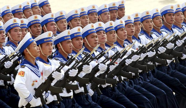 Vietnamese navy sailors march during a parade marking their 70th National Day at Ba Dinh square in Hanoi, Vietnam September 2, 2015. REUTERS/Kham