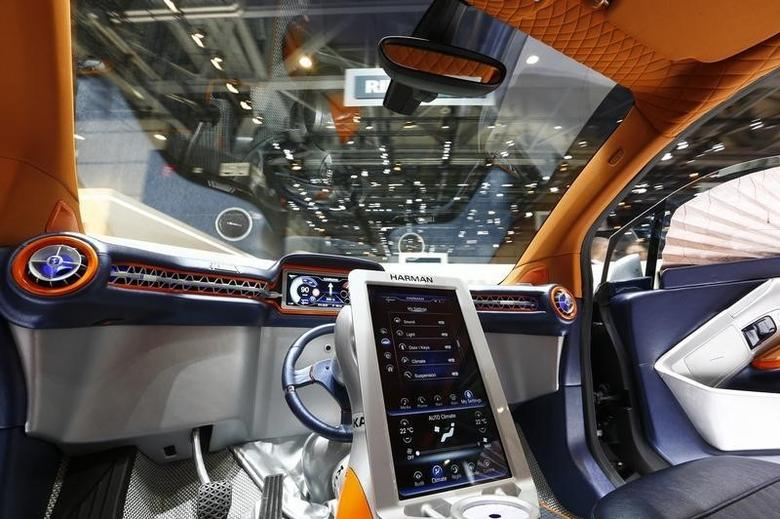 The steering wheel is seen resting in the middle of the dashboard inside a Rinspeed Budii self-driving electric city car during the second press day ahead of the 85th International Motor Show in Geneva March 4, 2015.  REUTERS/Arnd Wiegmann